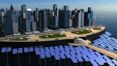 Digital Concept Clean Power Eco System City — Stock Video