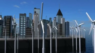 Digital CG Wind Turbines Powering Cities — Stock Video