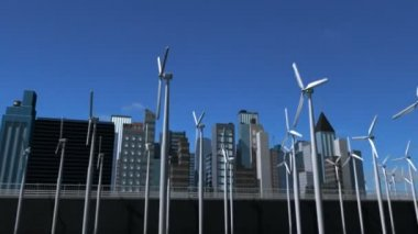 Digital CG Future City Green Energy — Stock Video #17702473