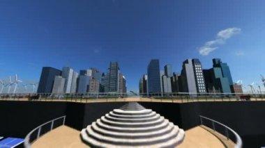 Cg digital concepto solar powered ciudad del futuro — Vídeo de Stock