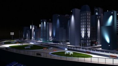 3D graphics of selective lighting on city buildings generated from alternative energy sources