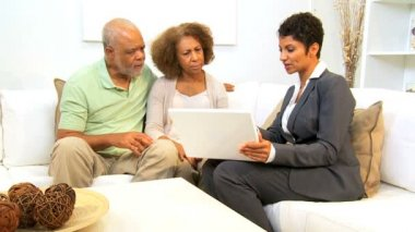 Saleswoman Home Meeting Senior Couple — Video Stock