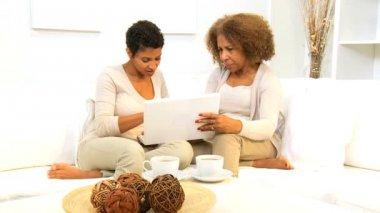 Ethnic Females Home Laptop Internet — Stock Video #17703559