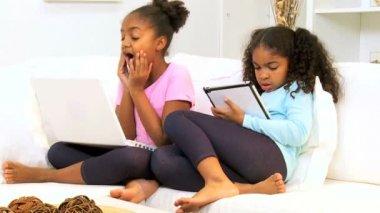 Cute Ethnic Girls Wireless Internet Games — Stock Video