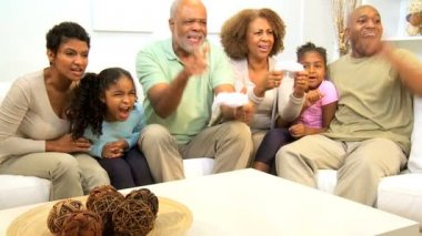 African American Family Hand Held Games Entertainment — Stock Video