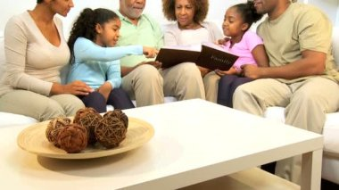 African American Generations Family Photographs — Stock Video #17704003