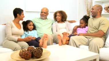 Extended African American family spending social time together home