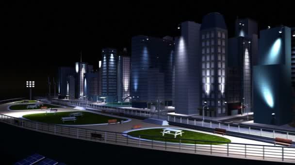 Ciudad de concepto Cg iluminada por fuentes alternativas de energía — Vídeo de stock