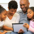 African American Family Home Wireless Tablet — Stock Video #17874247