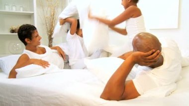 Cute African American Sisters Pillow Fight — Stock Video