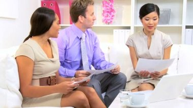 Female Asian Chinese Advertising Executive Multi Ethnic Team — Stock Video