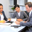 Asian Chinese Businesswoman Office Team Meeting — Stock Video