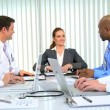 Royalty-Free Stock Vector Image: Hospital Doctors Meeting Financial Consultant