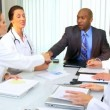 Hospital Doctors Meeting Financial Consultant — Stock Video
