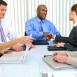 Stock Video: Ethnic Male Client Meeting Advertising Agency Consultants