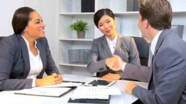 Multi Ethnic Business Team Success Congratulations — Stock Video