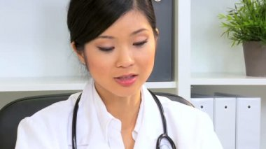 Portrait Female Asian Chinese Doctor — Stock Video
