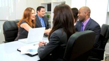 Caucasian Businesswoman Successful Team Meeting — Stock Video
