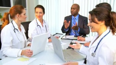 Multi Ethnic Team Medical Consultants — Stock Video