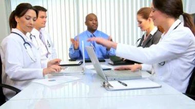 Financial Advisor Congratulating Team Medical Consultants — Stock Video