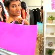Female Friends Browsing Exclusive Clothing Store - Zdjęcie stockowe