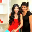 Multi Ethnic Girlfriends Smiling to Camera While Shopping — Stock Video