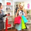 Blonde Female Credit Card Fashion Store — Vídeo Stock