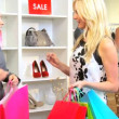 Fashionable Female Spending Fashion Outlet  — Stok video