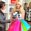 Female Shopper Credit Card Fashion Store  — Stok video
