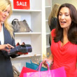 Caucasian Female Spending Fashion Outlet — Stock Video