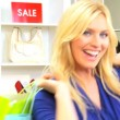 Smiling Female Shopping Trip - Stock Photo