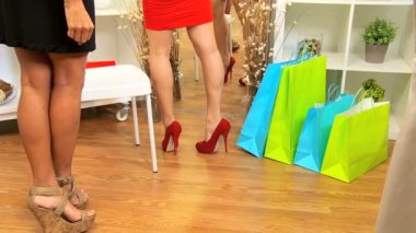 Females Admiring New Shoes — Stock Video