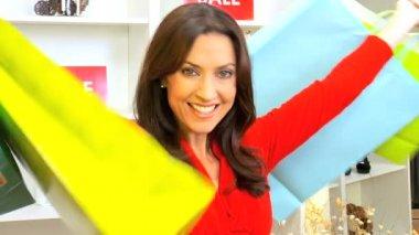 Caucasian Female Designer Shopping — Stock Video #17977089