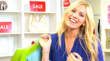 Blonde Woman Shopping Trip Bags — Stock Video