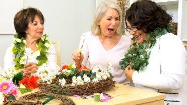 Hands Retired Ladies Flower Arranging — Stock Video