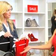 Blonde Boutique Owner Helping Elegant Client — Stock Video
