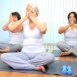 lezione di yoga palestra Senior ladies — Video Stock