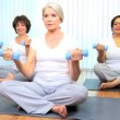 clase de yoga instructor Senior femenino — Vídeo de stock