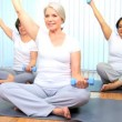 Health Club Yoga Group Senior Ladies — Stock Video