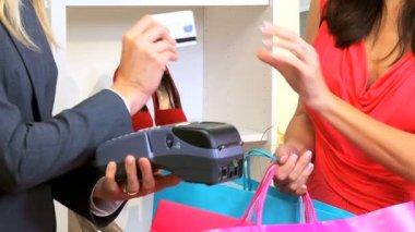 Credit Card Machine Used Close Up — Vídeo de stock