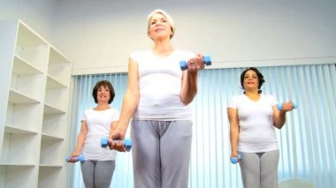 Caucasian Senior Females Using Weights Health Club — Stock Video