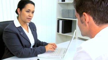 Businesswoman Meeting Hispanic Lawyer — Stock Video