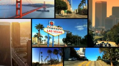 Montage Images of American Cites, USA — Stock Video