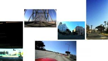 Montage P.O.V. Driving West Coast USA — Stock Video