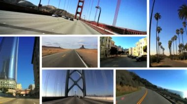 Montage Images P.O.V. Driving West Coast USA — Stock Video