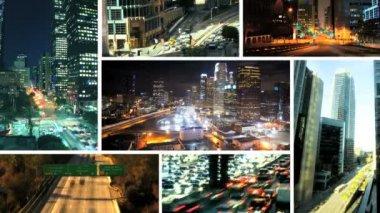 Flera bilder innerstaden trafik, usa — Stockvideo