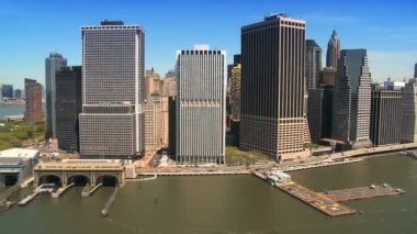 Multiple aerial images of famous places around New York city, North America