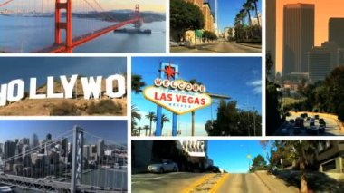Montage image scenes featuring the gambling city of Las Vegas Nevada, San Francisco and Los Angeles, USA