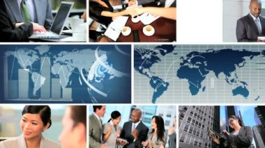 Global Business Montage Digital Images, USA — Stok video