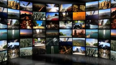Montage Digital Wall Images City Travel Locations — Stock Video